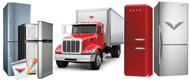 Коллаж: грузовик и холодильники