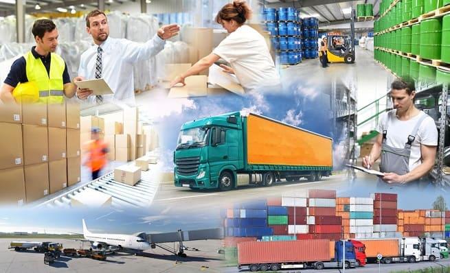 Коллаж логистика и доставка грузов