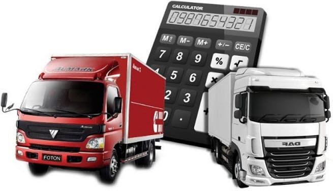 Коллаж калькулятор и грузовики