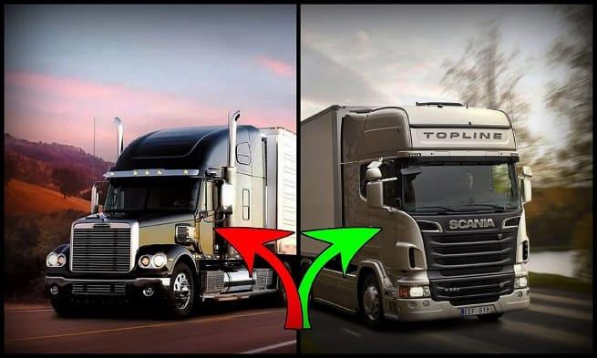 Европейский и американский грузовик фото